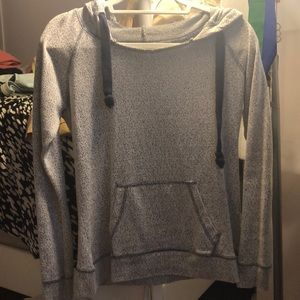 Light grey and navy blue sweatshirt